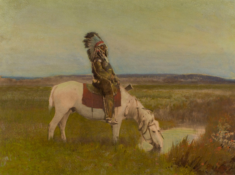 An Oasis in the Badlands Sioux 1905 Hand-colored Platinum