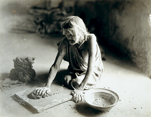 The Potter Mixing Clay - Hopi, 1900 • Untoned Gelatin Silver
