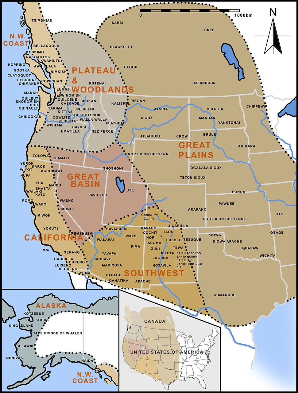 TRIBAL REGIONS OF THE NORTH AMERICAN INDIAN The Most Trusted - Map of us with native american tribes north america